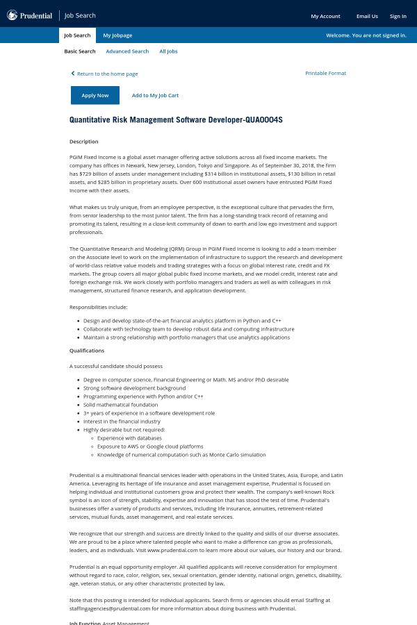 Quantitative Risk Management Software Developer job at Prudential