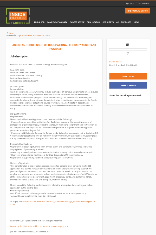 Assistant Professor Of Occupational Therapy Assistant Program Job At