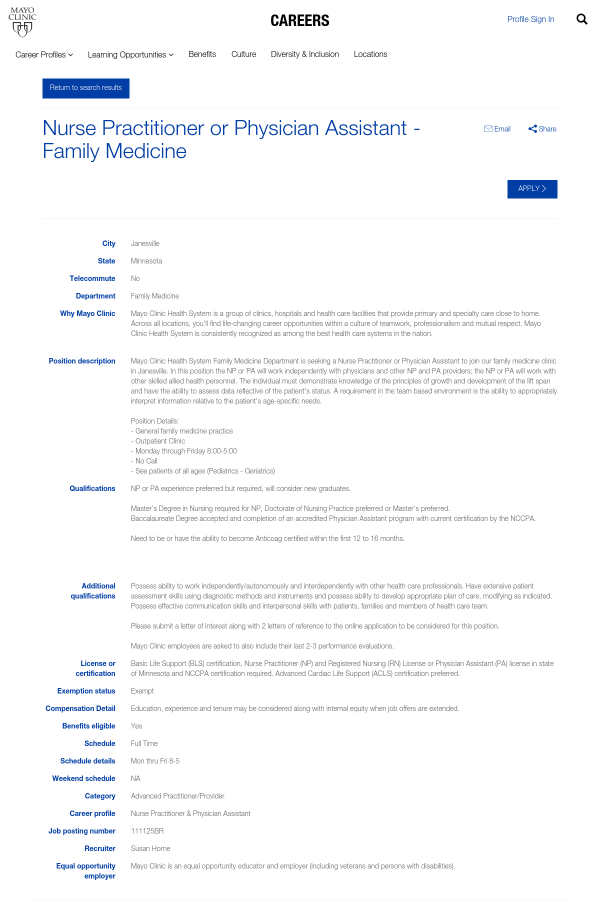 Nurse Practitioner or Physician Assistant - Family Medicine