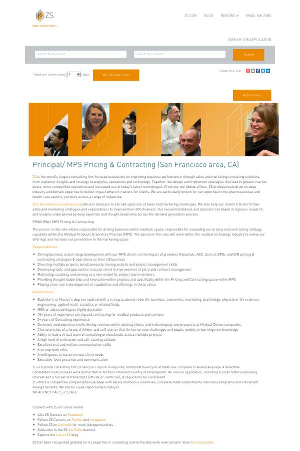 Principal / MPS Pricing & Contracting job at ZS Associates