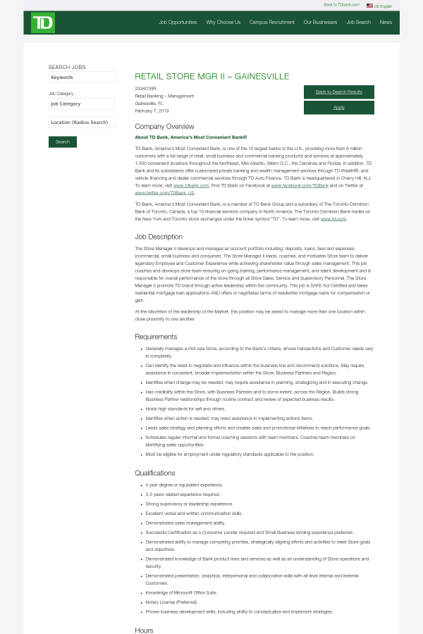 Retail Store Manager Ii Gainesville Job At Td Bank In Gainesville