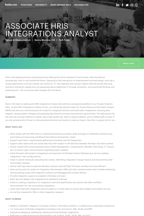 Associate HRIS Integrations Analyst job at Hulu in Santa