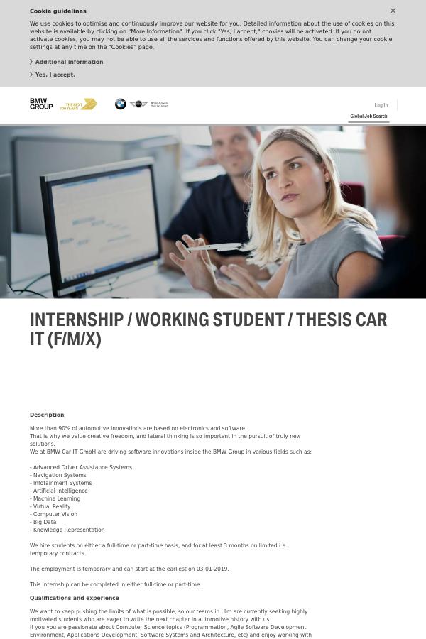 internship / working student / thesis car it (f/m / x) job at bmw in