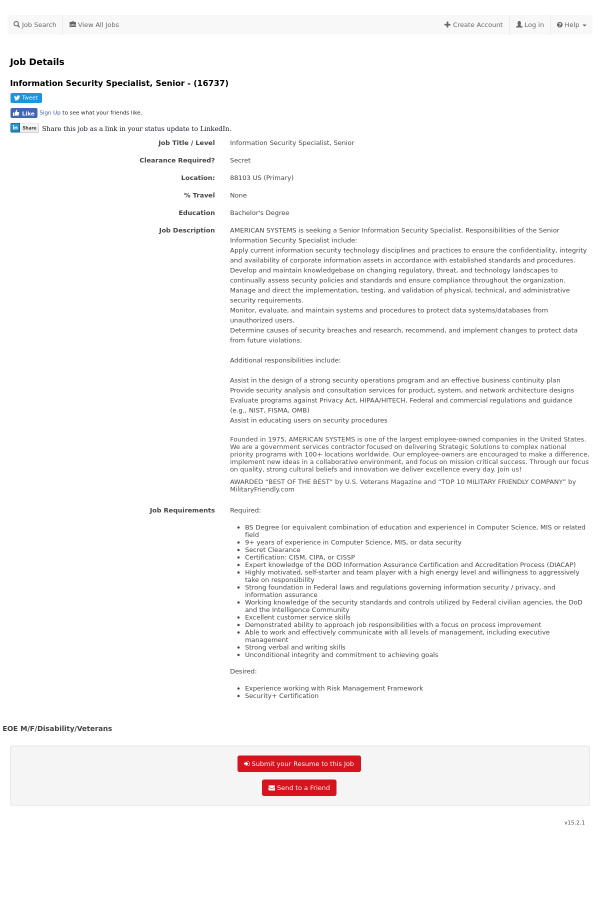 Information Security Specialist, Senior job at American
