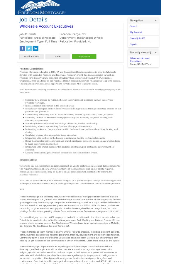 Wholesale Account Executives job at Freedom Mortgage in