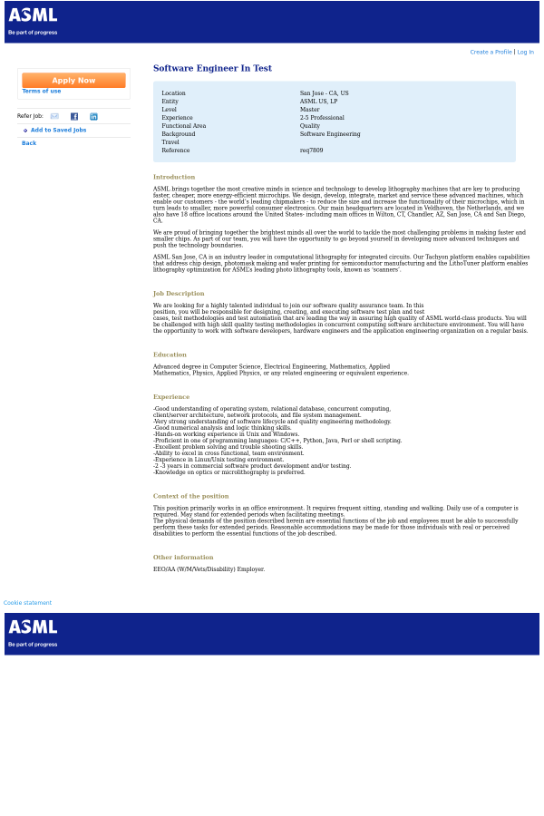 Software Engineer in Test job at ASML in San Jose, CA