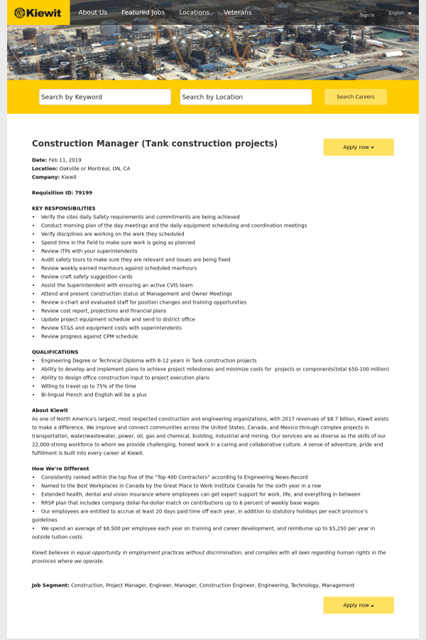 Construction Manager (Tank Construction Projects) job at