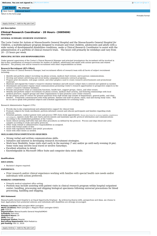 Clinical Research Coordinator - 20 Hours job at Massachusetts