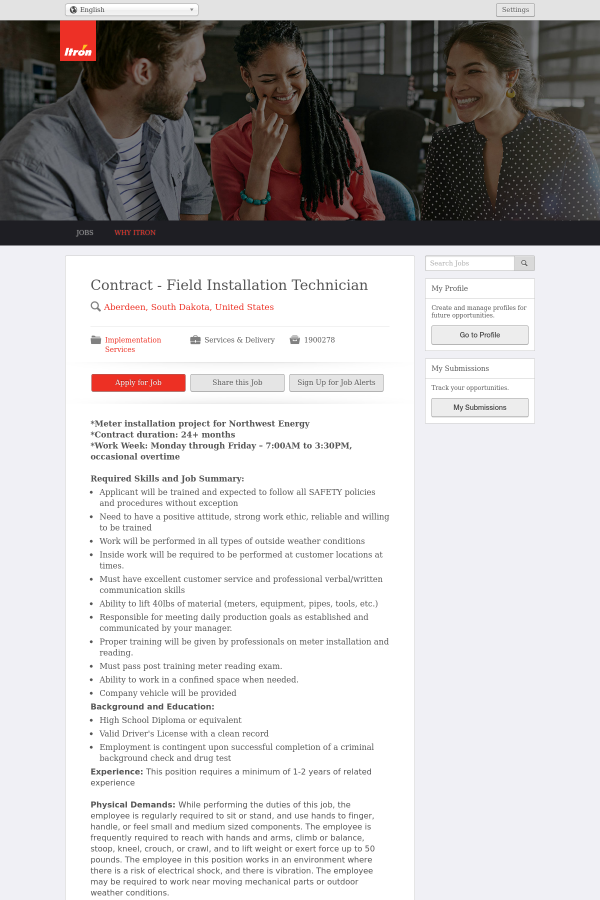 Contract - Field Installation Technician job at Itron in Aberdeen