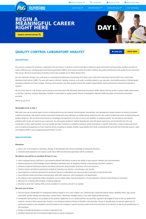 Quality Control Laboratory Analyst job at Procter & Gamble