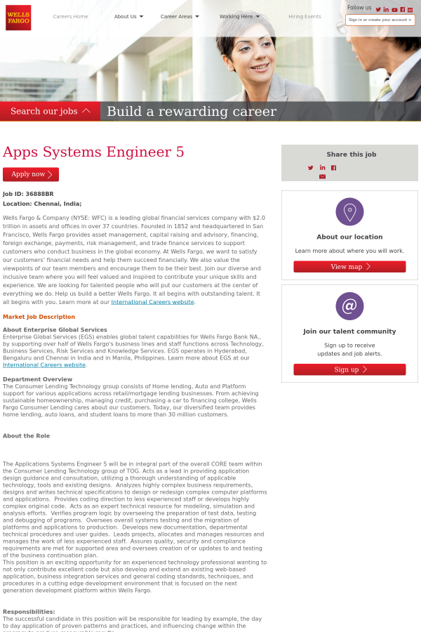 Apps Systems Engineer 5 job at Wells Fargo in Chennai, India