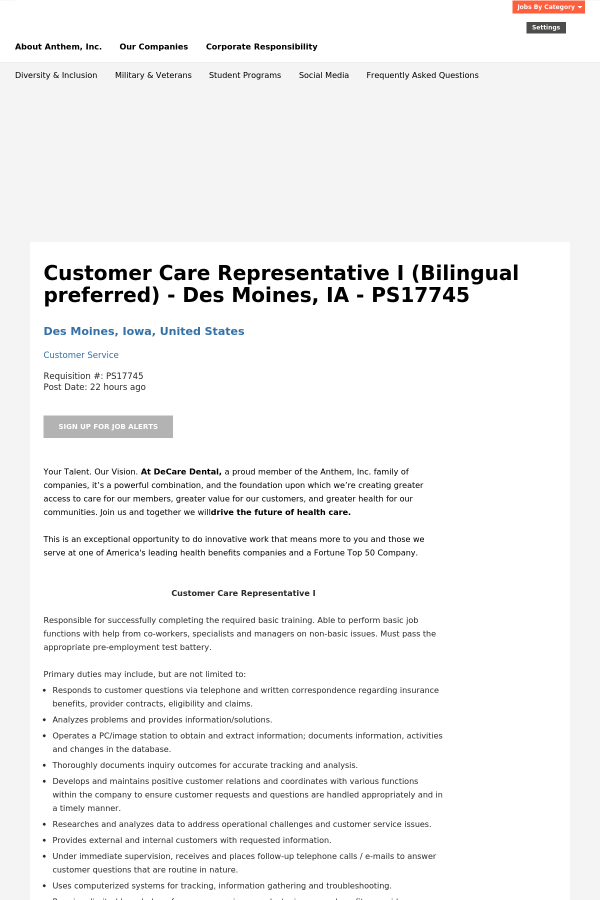 Customer Care Representative I - Des Moines, IA - PS job at