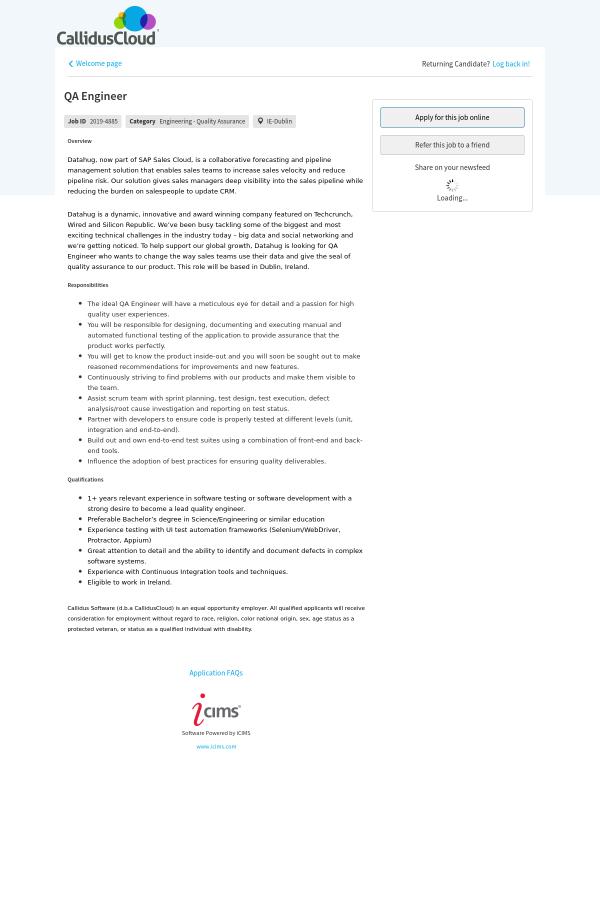 QA Engineer job at Callidus Software in Dublin, Ireland - 16622201