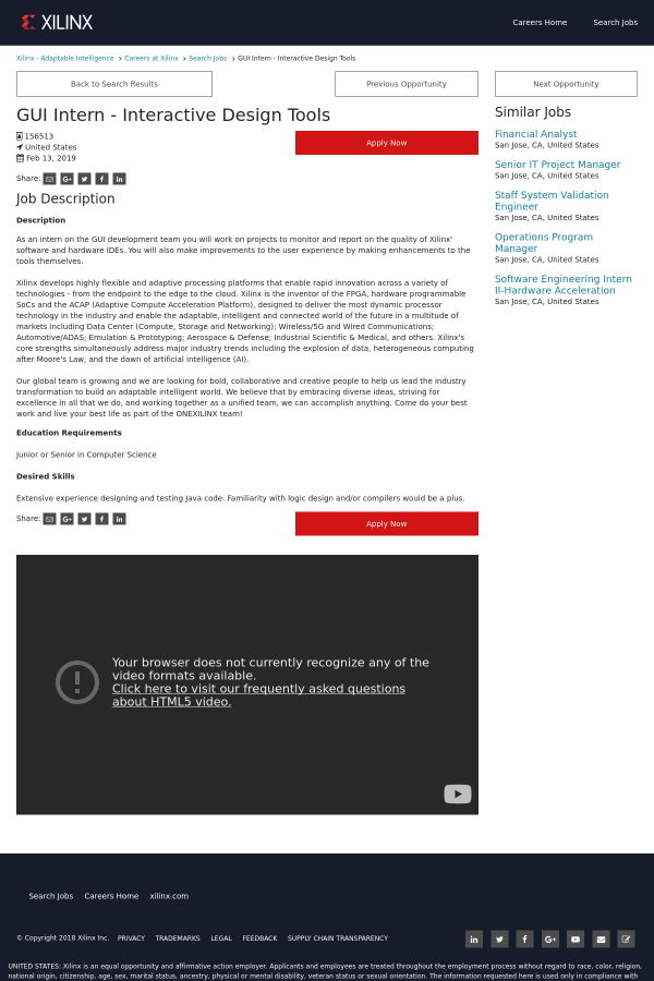 GUI Intern - Interactive Design Tools job at Xilinx in