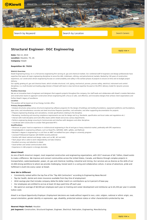 Structural Engineer - OGC Engineering job at Kiewit in