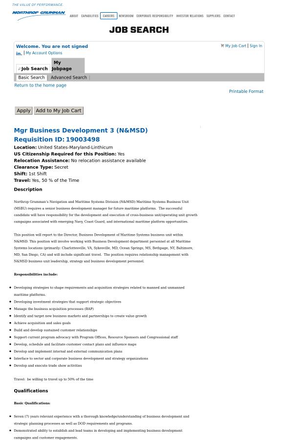 Manager Business Development 3 job at Northrop Grumman