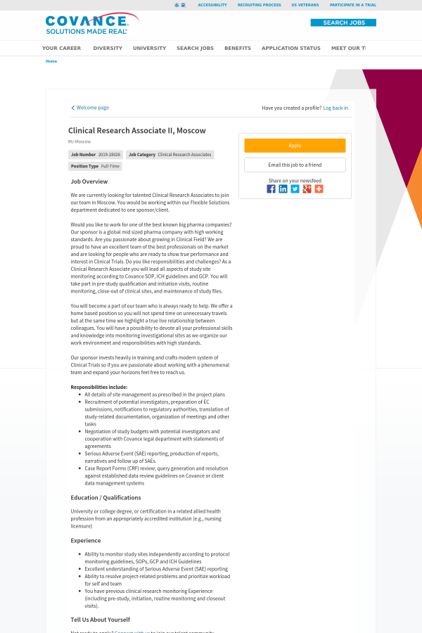 Clinical Research Associate II, Moscow job at Covance in Moscow