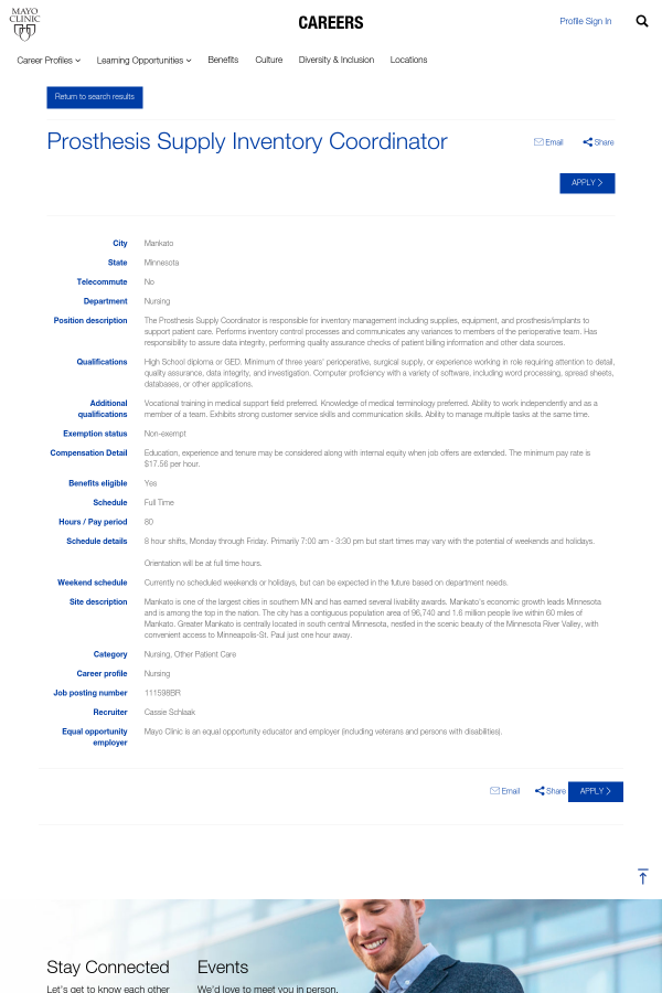 Prosthesis Supply Inventory Coordinator job at Mayo Clinic