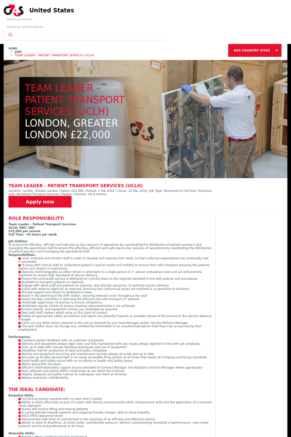 Team Leader - Patient Transport Services (Uclh) job at G4S