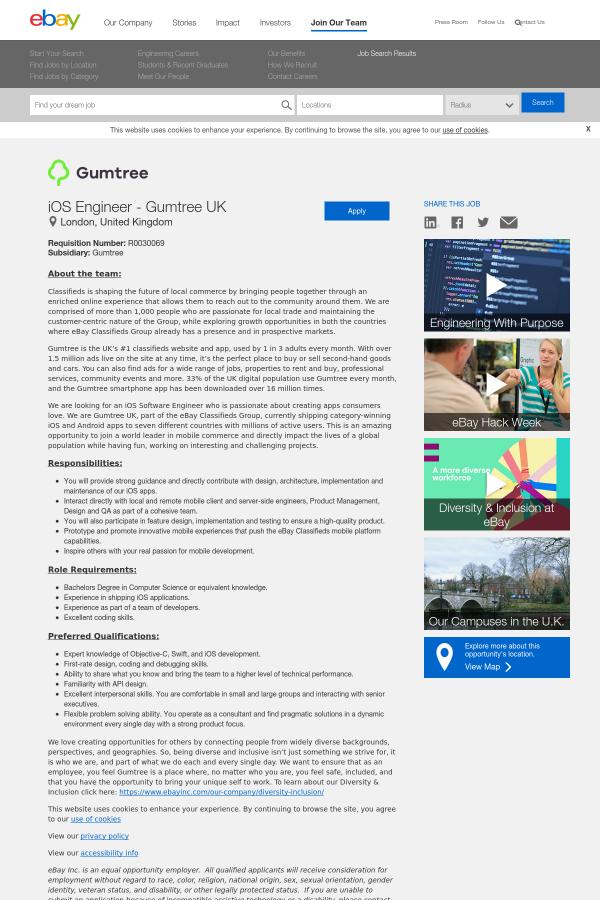 iOS Engineer - Gumtree UK job at eBay in London, United