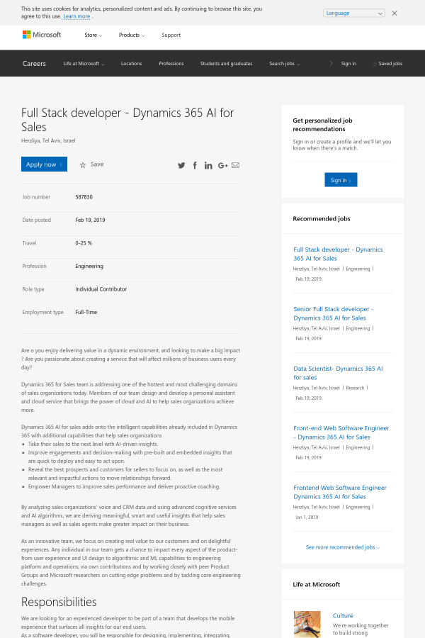 Full Stack Developer - Dynamics 365 AI for Sales job at