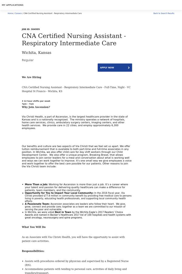 Cna Certified Nursing Assistant Respiratory Intermediate Care Job