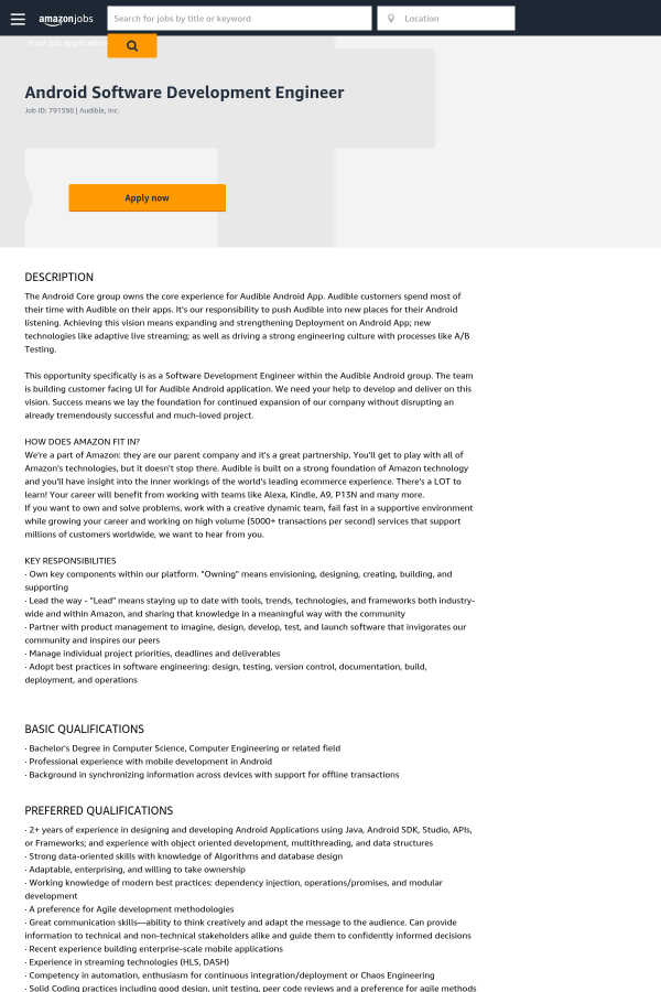 Android Software Development Engineer job at Audible in New