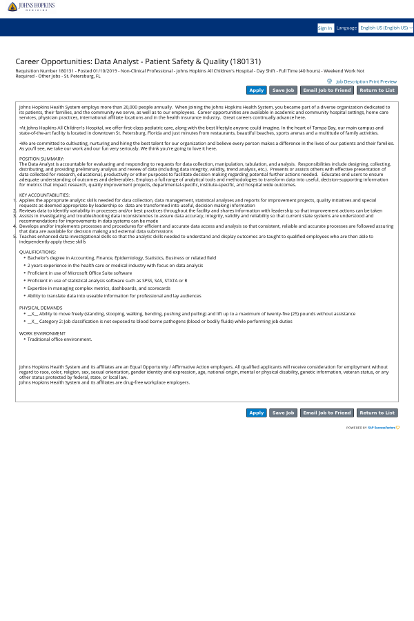 Data Analyst - Patient Safety & Quality job at Johns Hopkins