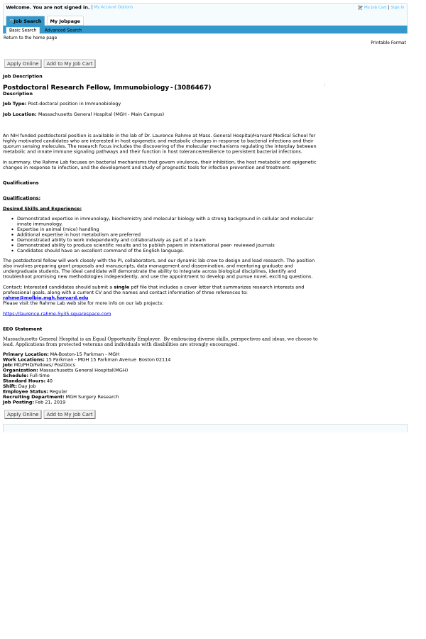 PostDoctoral Research Fellow, Immunobiology job at