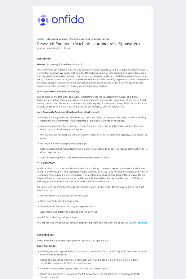 Research Engineer (Machine Learning, Visa Sponsored) job at Onfido