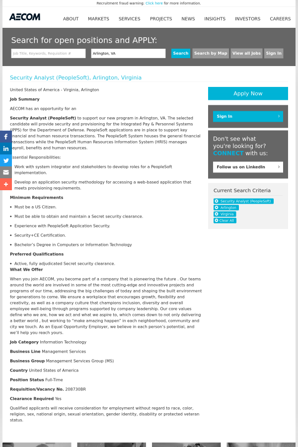 Security Analyst (PeopleSoft) job at AECOM Technology