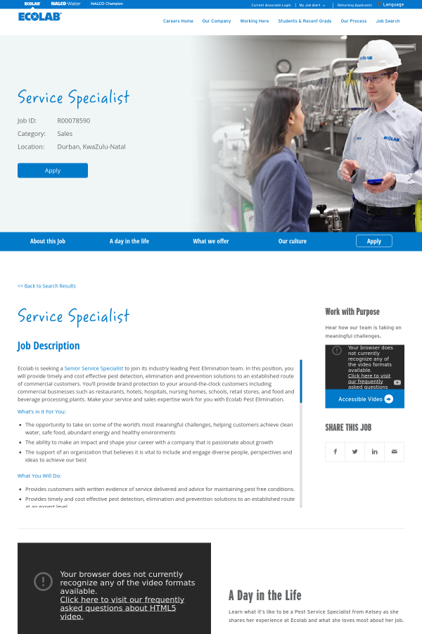 Service Specialist job at Ecolab in Durban, South Africa