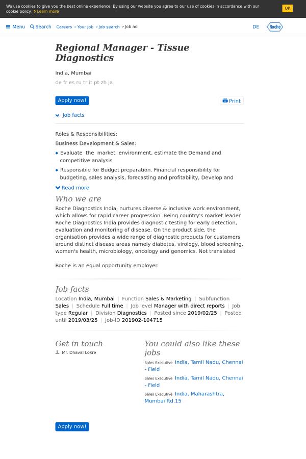 Regional Manager - Tissue Diagnostics job at Roche in Mumbai