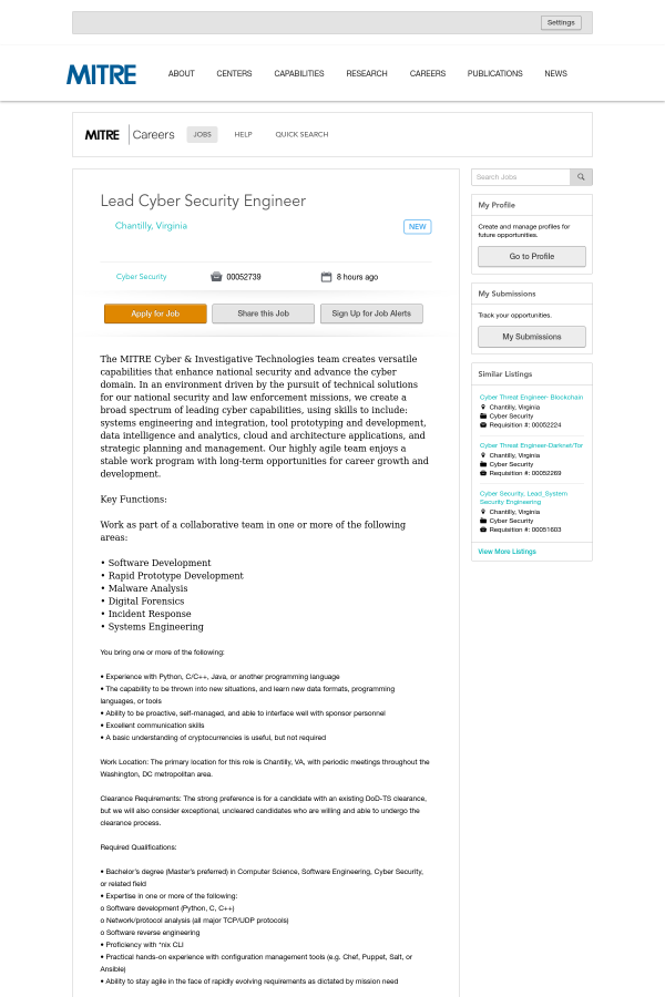 Lead Cyber Security Engineer job at MITRE in Chantilly, VA