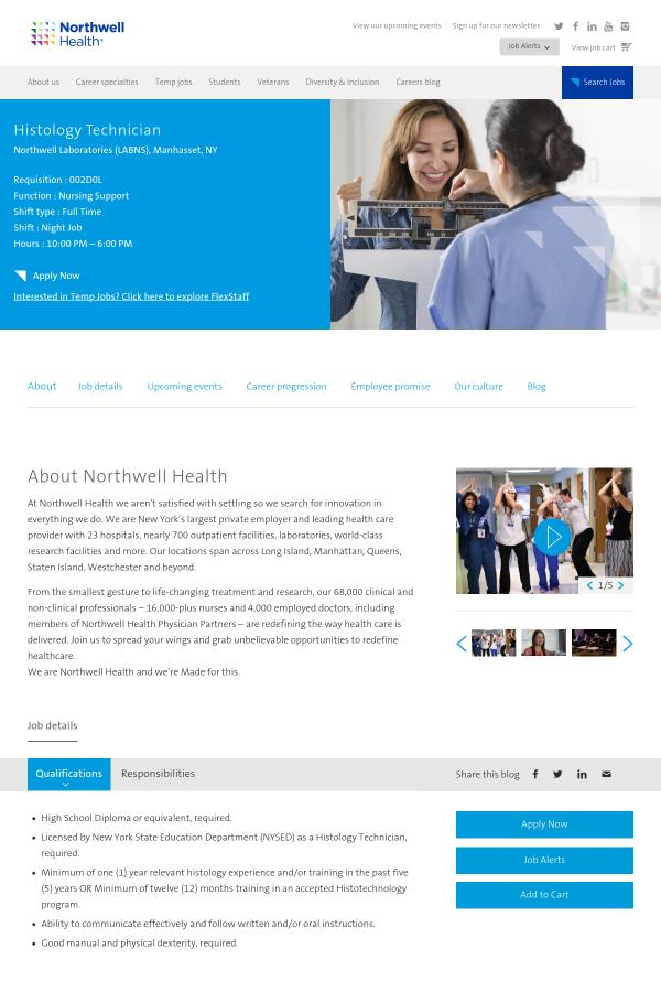 Histology Technician job at Northwell Health in Manhasset