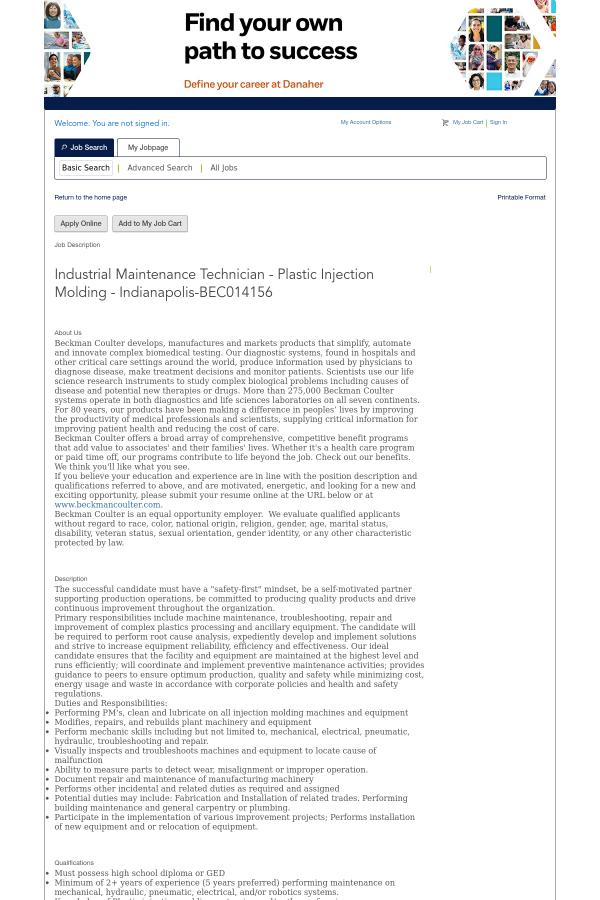 Industrial Maintenance Technician - Plastic Injection