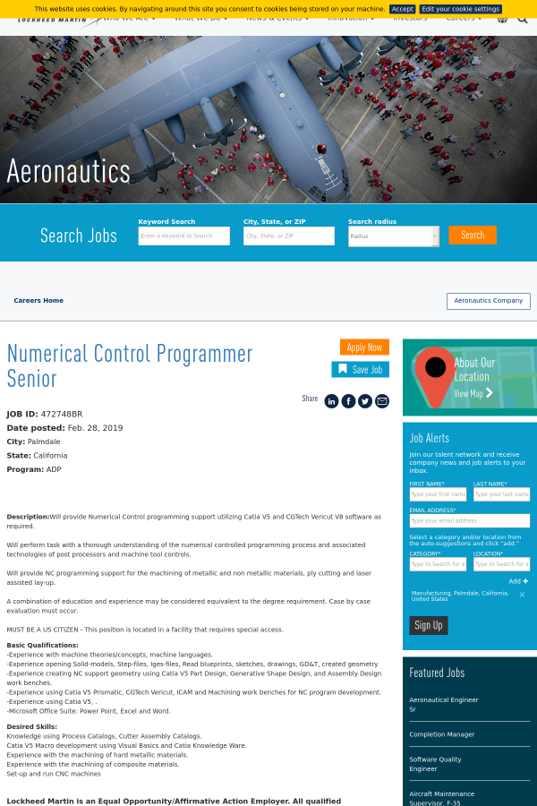 Numerical Control Programmer Senior job at Lockheed Martin
