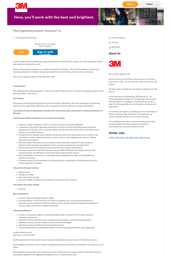 Plant Engineering Systems Technician ∞ job at 3M in Menomonie, WI
