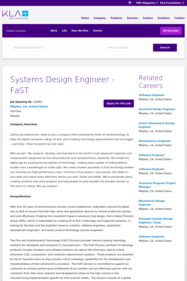 Systems Design Engineer Fast Job At Kla Tencor In Milpitas Ca 19859125 Tapwage Job Search