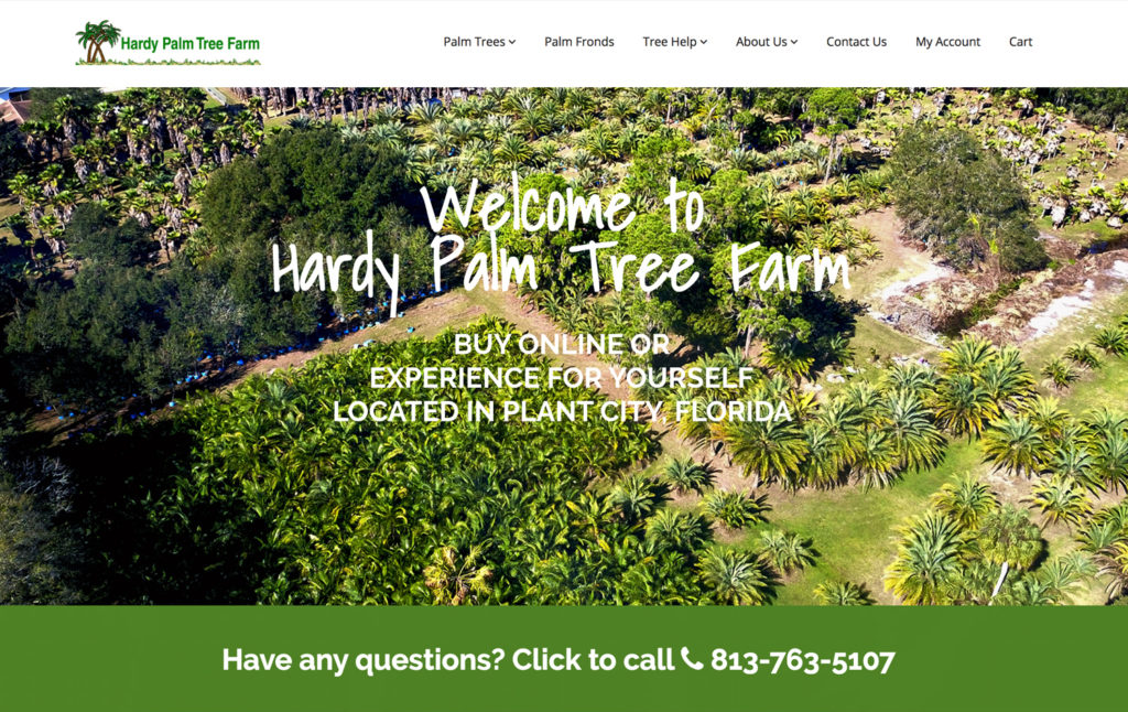 Hardy Palm Trees - Ecommerce Web Design