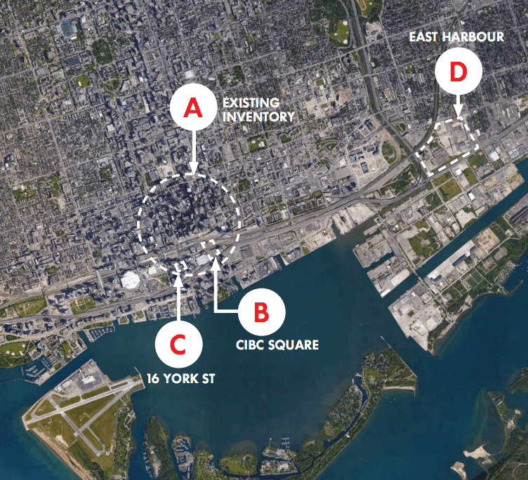 A picture from Toronto's bid showing both the current and proposed real estate options for an HQ2.