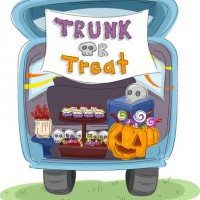 32271653 - illustration featuring the trunk of a car decorated for halloween