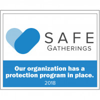 Safe Gatherings window cling 2018 - square