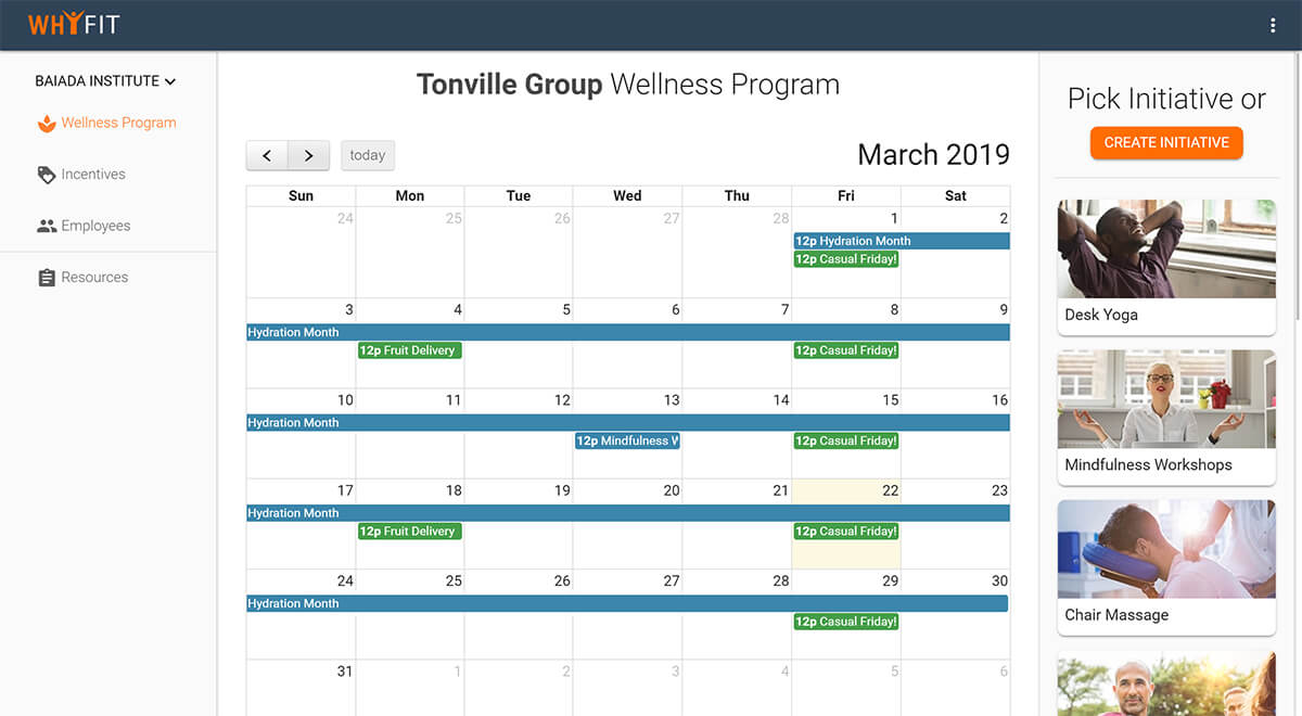 Schedule and manage wellness program on WhyFit