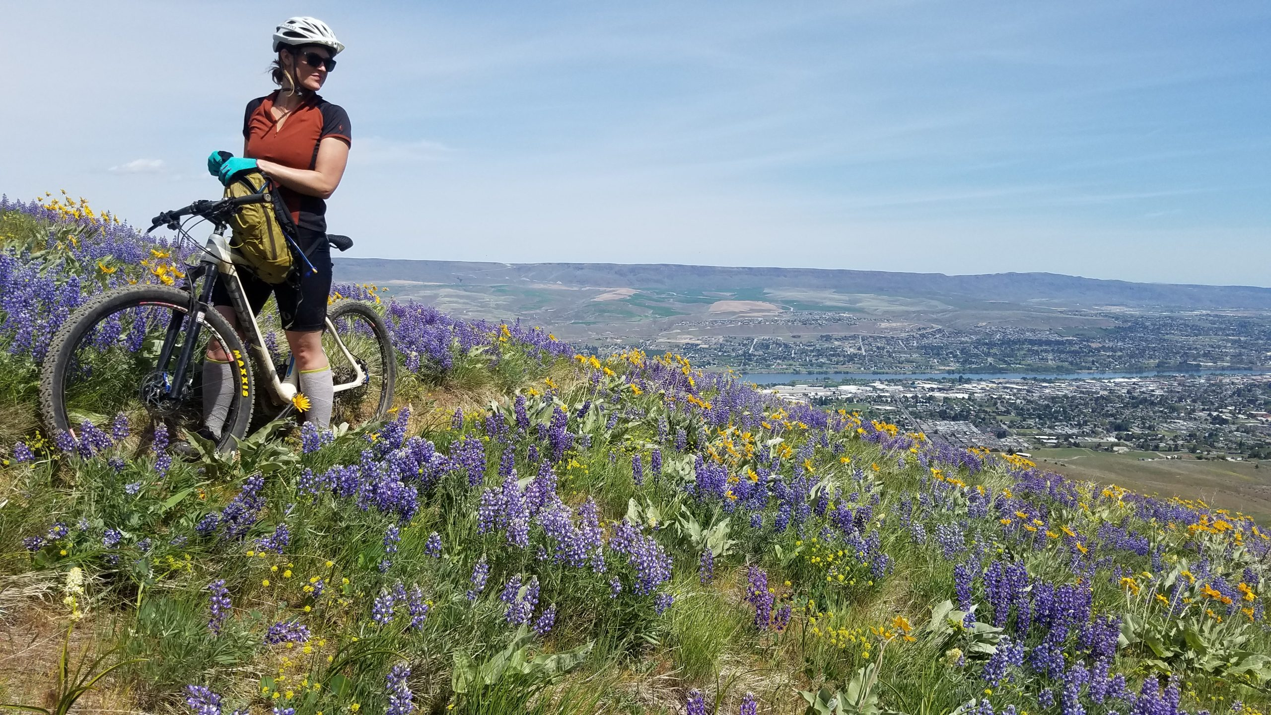 woman on a mountain bike standing on a flower covered hill with wenatchee in the valley below