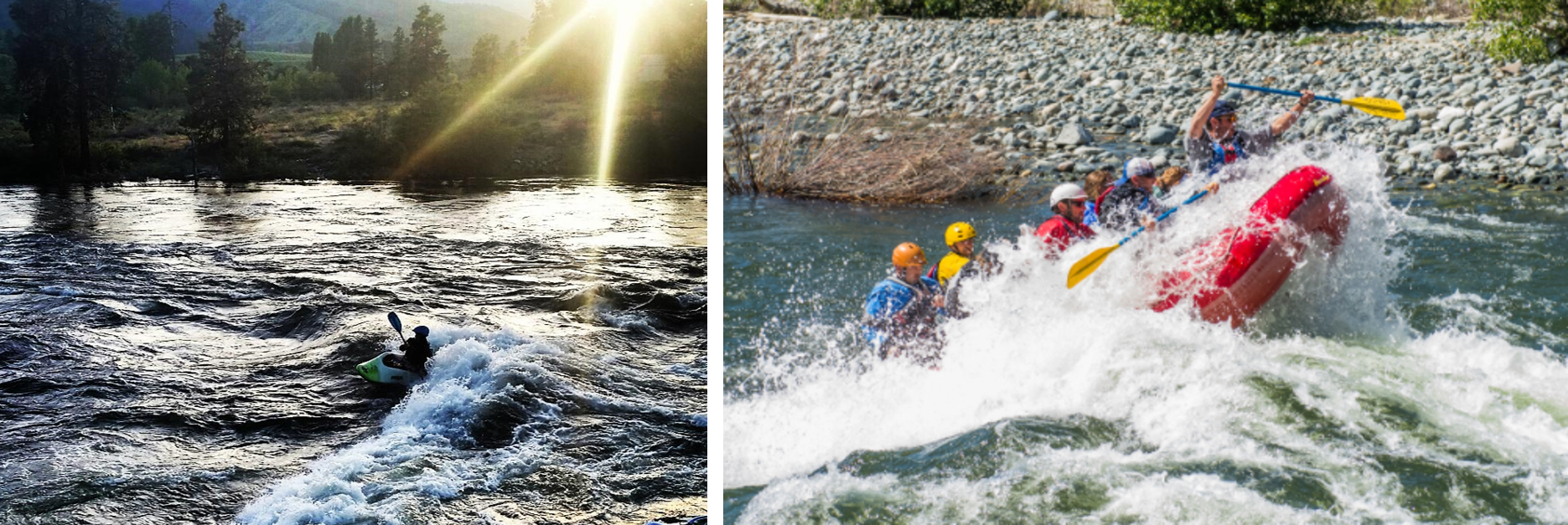 image on the left is a kayaker on the river at sunset and image on the right is a group of people in a red raft going through whitewater