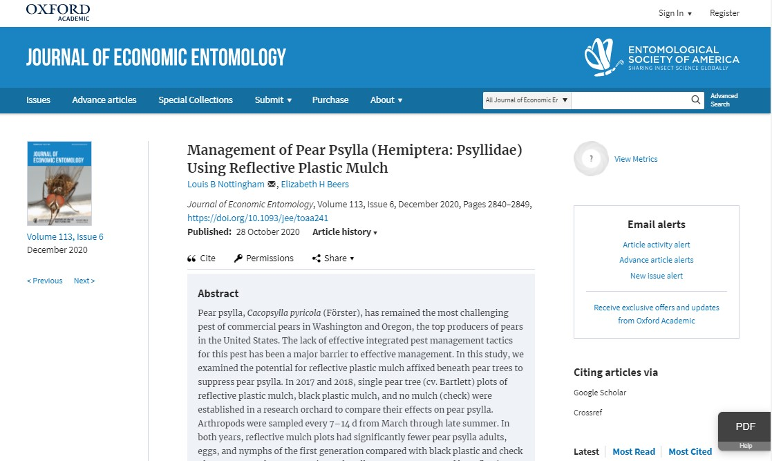 screenshot of publication in the journal of economic entomology