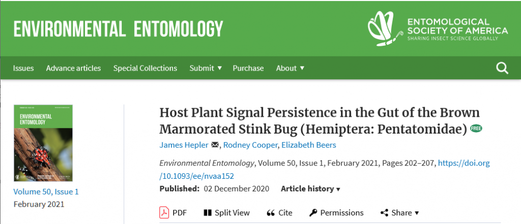 screenshot of environmental entomology web site with the article title
