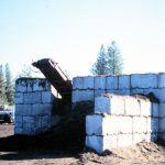 wall of concrete blocks in from on machinery