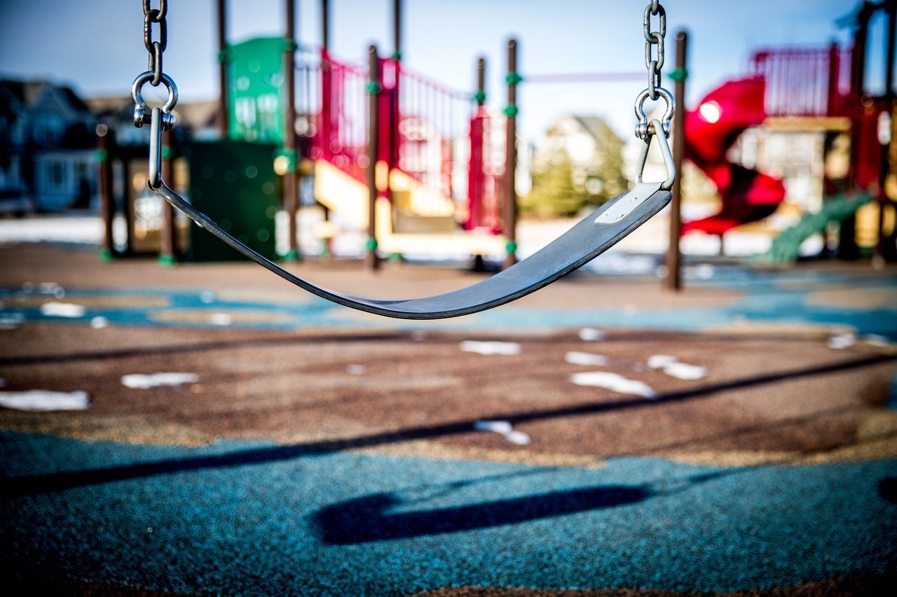 Picture of an empty swing.